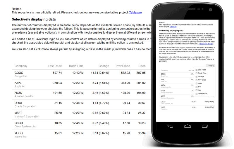 responsive table con selector de columnas