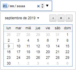 input type date con flechas de control y calendario