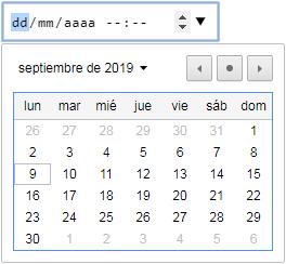 input type datetime-local con flechas de control y calendario