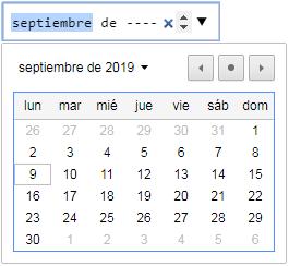 input type month con flechas de control y calendario